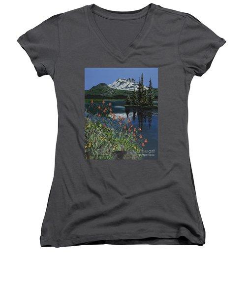 A Peaceful Place Women's V-Neck T-Shirt (Junior Cut) by Jennifer Lake