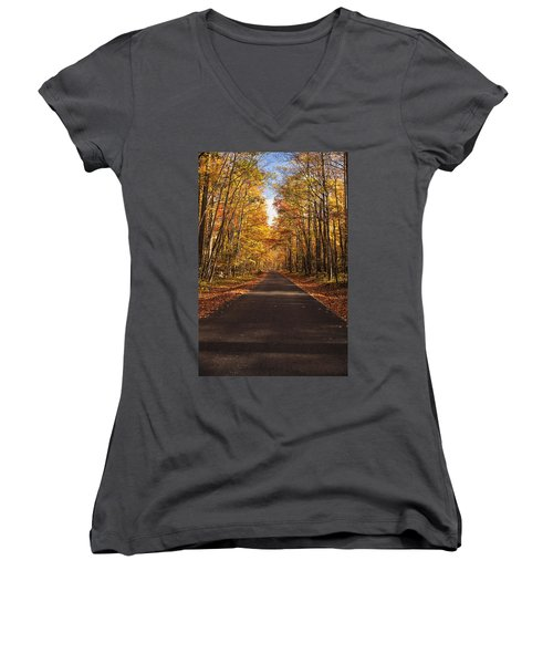 Women's V-Neck T-Shirt (Junior Cut) featuring the photograph Autumn Drive by Andrew Soundarajan