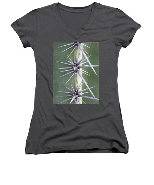 Women's V-Neck T-Shirt (Junior Cut) featuring the photograph Cactus Thorns by Deb Halloran
