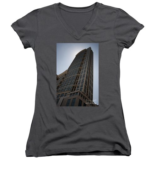 Women's V-Neck T-Shirt (Junior Cut) featuring the photograph City Architecture by Miguel Winterpacht
