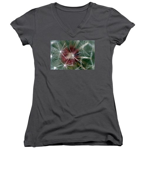 Women's V-Neck T-Shirt (Junior Cut) featuring the photograph Dandelion Seed Head by Henrik Lehnerer