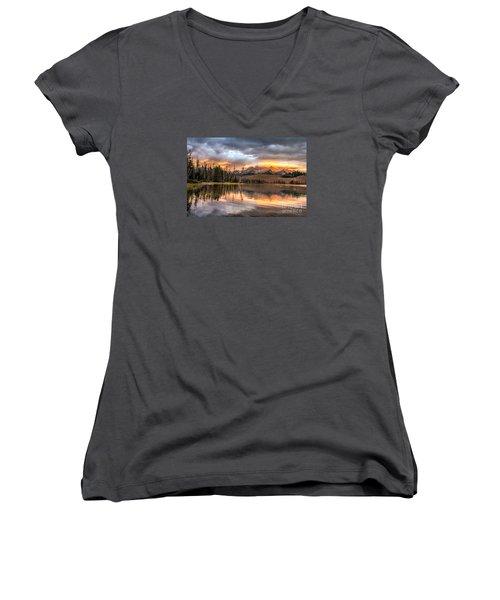 Golden Sunrise Women's V-Neck T-Shirt (Junior Cut) by Robert Bales