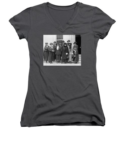 Women's V-Neck T-Shirt (Junior Cut) featuring the photograph League Of Women Voters by Granger