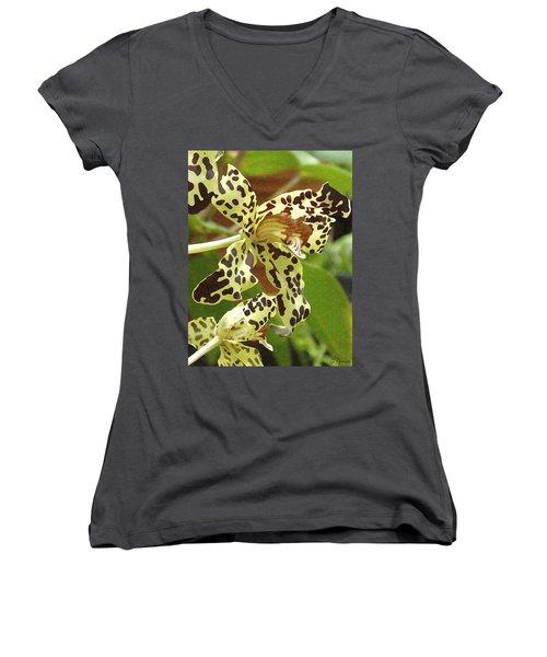 Leopard Orchids Women's V-Neck T-Shirt (Junior Cut) by Ellen Henneke