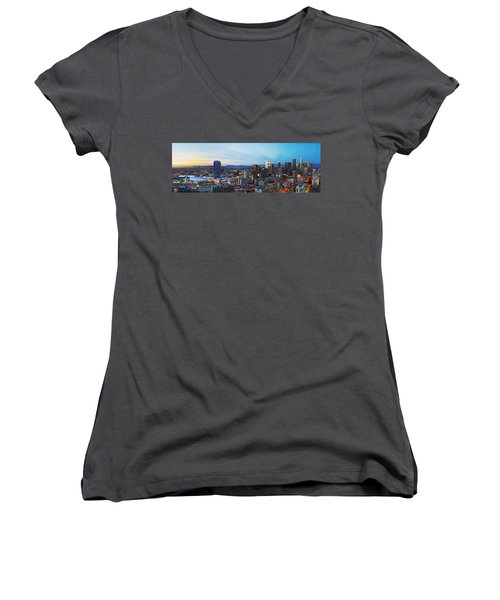 Los Angeles Skyline Women's V-Neck T-Shirt (Junior Cut) by Kelley King