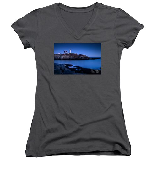 Nubble Lighthouse Women's V-Neck T-Shirt (Junior Cut) by Brian Jannsen