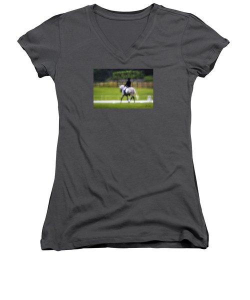 Women's V-Neck T-Shirt (Junior Cut) featuring the photograph Rainy Day Dressage by Joan Davis