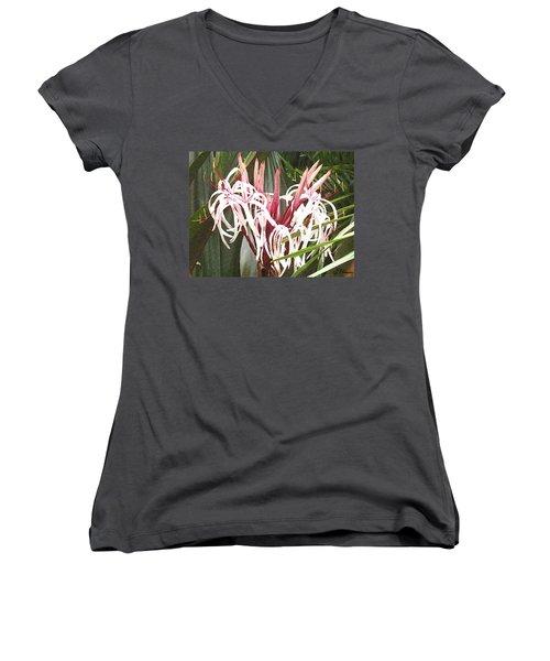 Queen Emma Crinum Lilies Women's V-Neck (Athletic Fit)