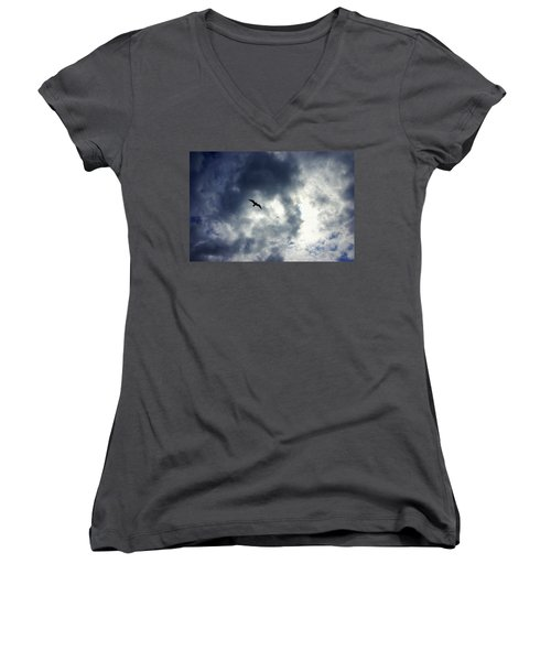 Women's V-Neck T-Shirt (Junior Cut) featuring the photograph Storm Flyer by Marilyn Wilson
