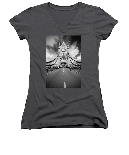 Women's V-Neck T-Shirt (Junior Cut) featuring the photograph Tower Bridge In London by Chevy Fleet