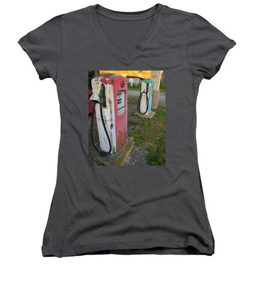 33 Cents Per Gallon Women's V-Neck T-Shirt (Junior Cut) by Jean Goodwin Brooks