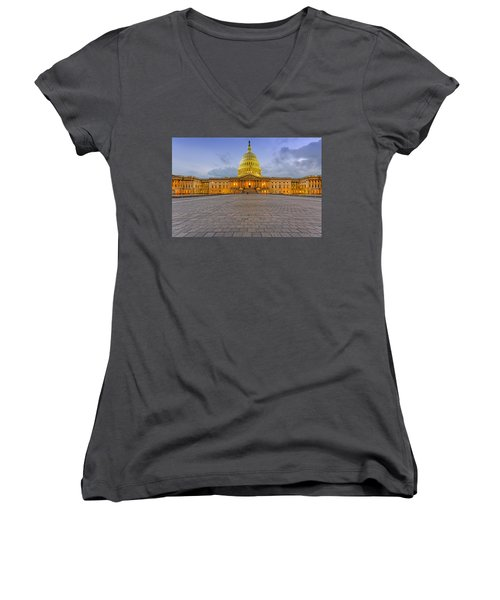 Women's V-Neck T-Shirt (Junior Cut) featuring the photograph Capitol Building by Peter Lakomy
