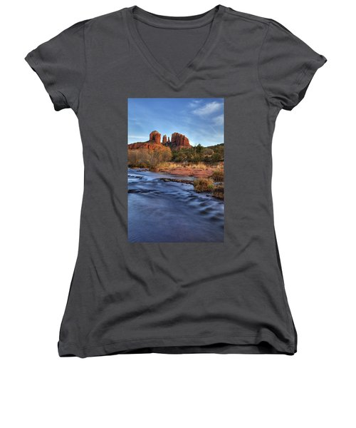 Cathedral Rocks In Sedona Women's V-Neck T-Shirt (Junior Cut) by Alan Vance Ley
