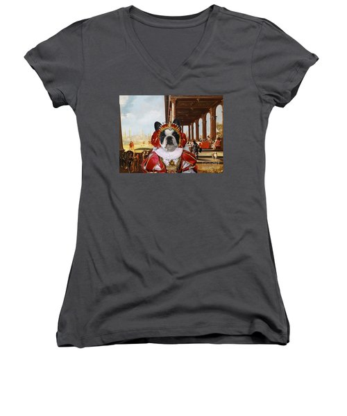French Bulldog Art Canvas Print Women's V-Neck T-Shirt