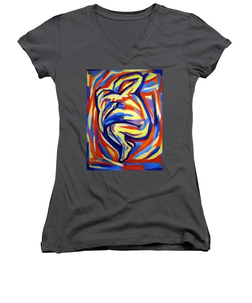 Women's V-Neck T-Shirt (Junior Cut) featuring the painting Here by Helena Wierzbicki
