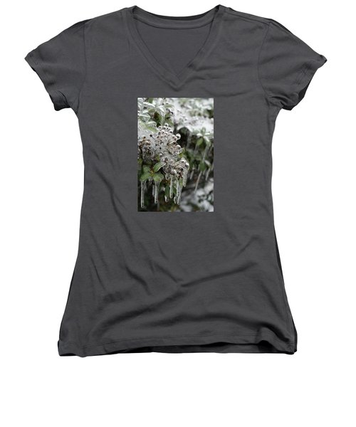 Women's V-Neck T-Shirt (Junior Cut) featuring the photograph Ice  by Heidi Poulin