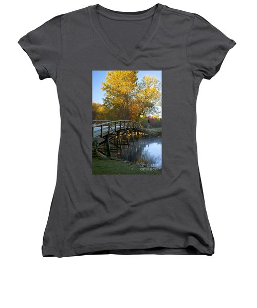 Old North Bridge Concord Women's V-Neck T-Shirt (Junior Cut) by Brian Jannsen