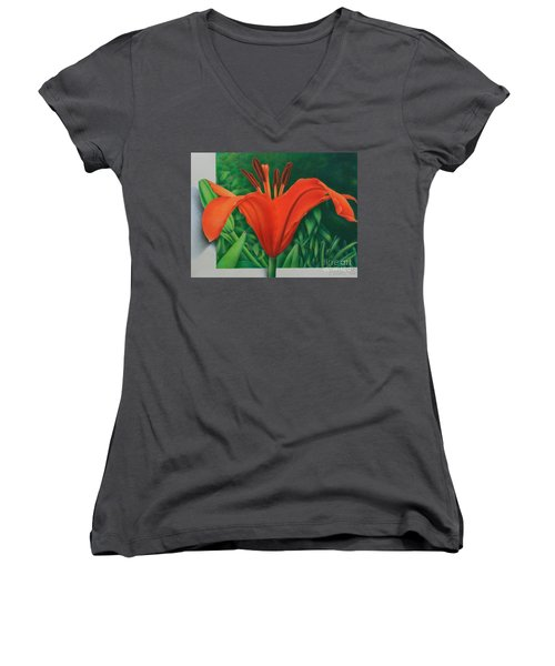 Women's V-Neck T-Shirt (Junior Cut) featuring the painting Orange Lily by Pamela Clements