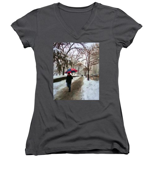 Snowfall In Central Park Women's V-Neck (Athletic Fit)