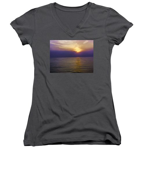 View Of Sunset Through Clouds Women's V-Neck T-Shirt