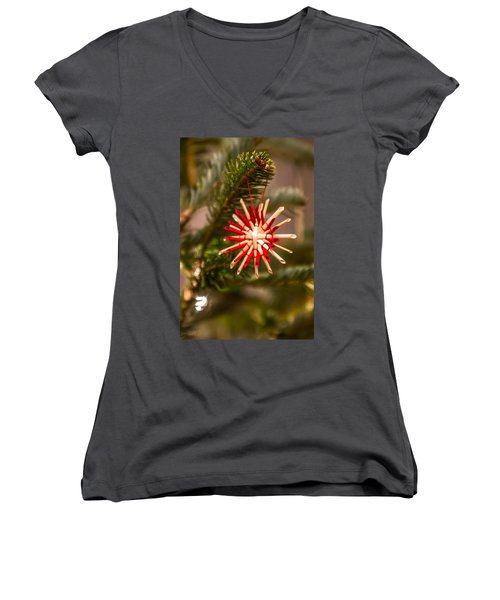 Women's V-Neck T-Shirt (Junior Cut) featuring the photograph Christmas Tree Ornaments by Alex Grichenko