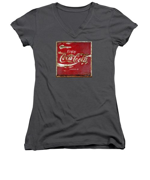 Coca Cola Vintage Rusty Sign Women's V-Neck T-Shirt (Junior Cut) by John Stephens