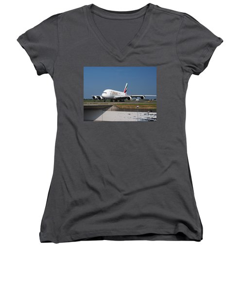 Emirates Airbus A380 Women's V-Neck T-Shirt (Junior Cut) by Paul Fearn