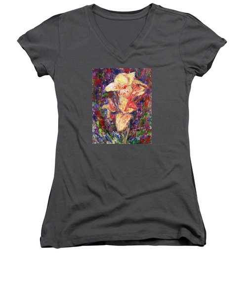 Women's V-Neck T-Shirt (Junior Cut) featuring the painting First Lady by Xueling Zou