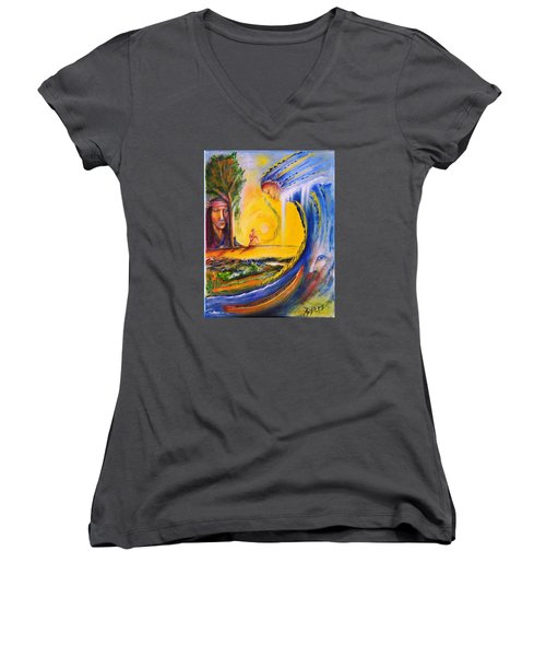 The Island Of Man Women's V-Neck T-Shirt (Junior Cut) by Kicking Bear  Productions