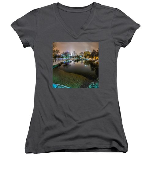 Charlotte Nc Skyline Covered In Snow In January 2014 Women's V-Neck T-Shirt