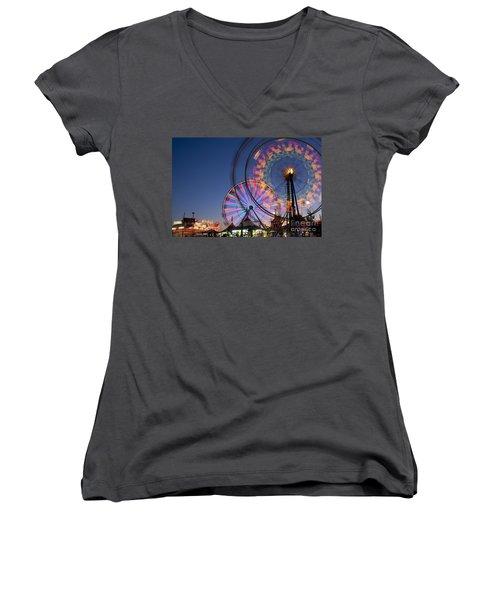 Evergreen State Fair With Ferris Wheel Women's V-Neck T-Shirt