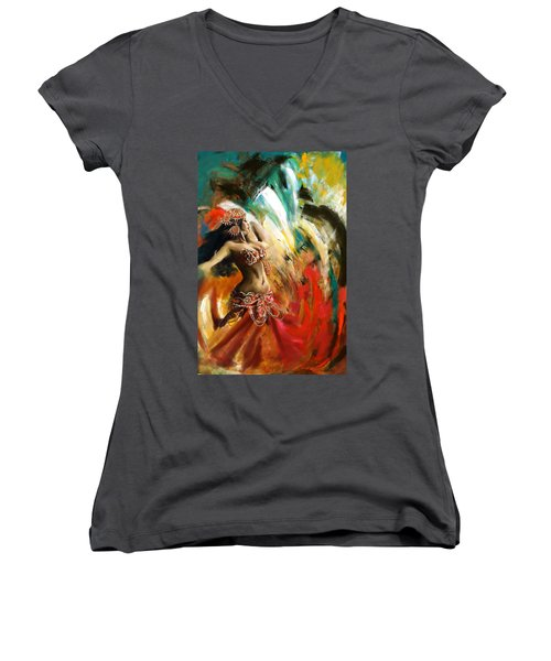 Abstract Belly Dancer 19 Women's V-Neck T-Shirt (Junior Cut) by Corporate Art Task Force