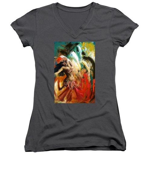 Abstract Belly Dancer 19 Women's V-Neck T-Shirt (Junior Cut)