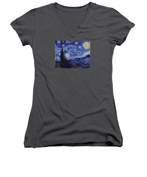 Starry Night Women's V-Neck T-Shirt (Junior Cut) by Vincent Van Gogh