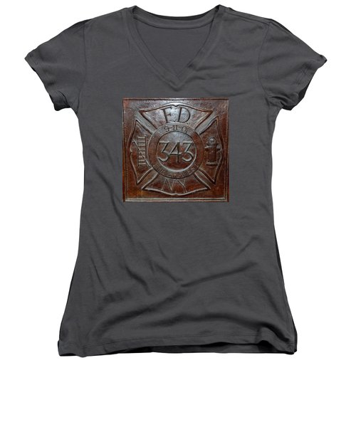 9 11 01 F D N Y 343 Women's V-Neck (Athletic Fit)