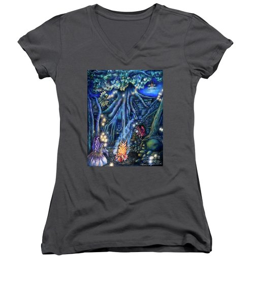Flutter Flies Women's V-Neck T-Shirt (Junior Cut) by Linda Simon