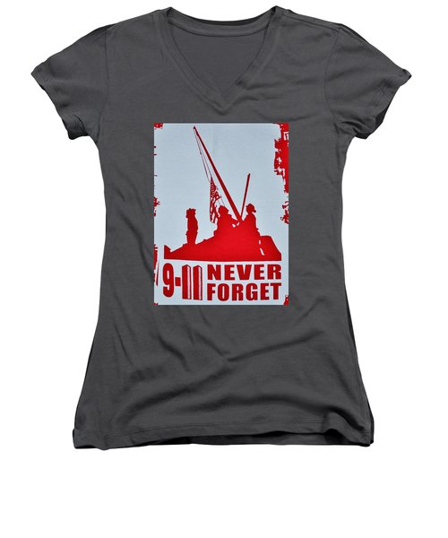 9-11 Never Forget Poster  Women's V-Neck T-Shirt (Junior Cut) by Bob Sample
