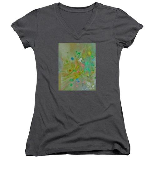 A Bird In Flight Women's V-Neck T-Shirt (Junior Cut) by Robin Coaker
