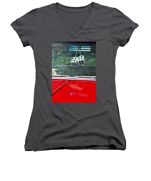 A Bit Dicey Women's V-Neck T-Shirt (Junior Cut) by Mark Alder