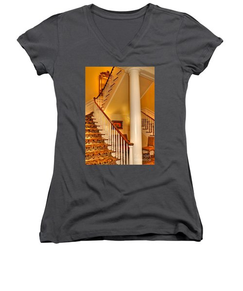 Women's V-Neck T-Shirt (Junior Cut) featuring the photograph A Bit Of Southern Style by Kathy Baccari