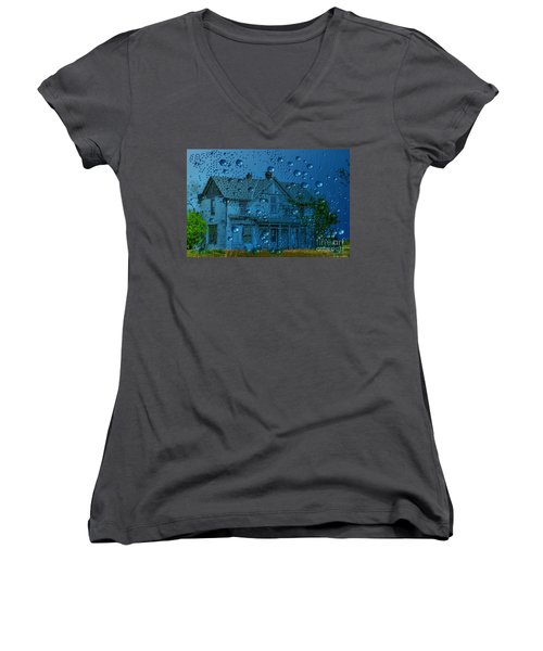 A Bit Of Whimsy For The Soul... Women's V-Neck T-Shirt (Junior Cut) by Liane Wright