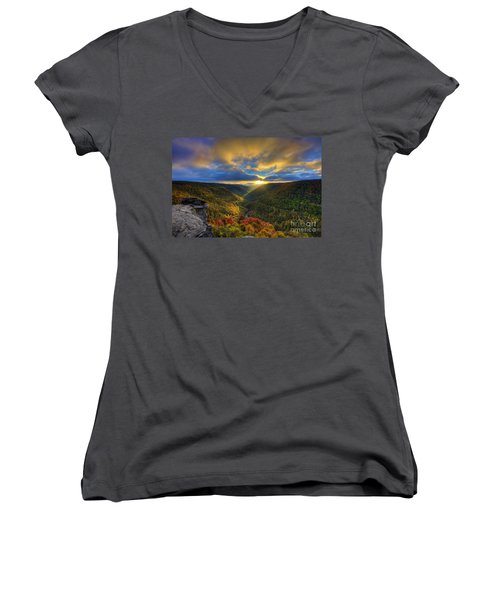 A Blue And Gold Sunset Women's V-Neck T-Shirt