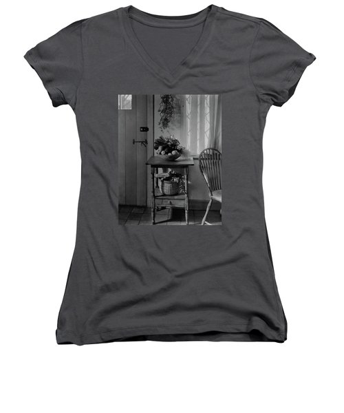 A Bowl Of Vegetables On A Table Women's V-Neck
