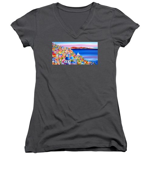 Women's V-Neck T-Shirt (Junior Cut) featuring the painting A Bright Day In Santorini Greece by Roberto Gagliardi