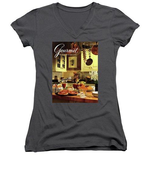 A Buffet Brunch Party Women's V-Neck T-Shirt (Junior Cut) by Romulo Yanes