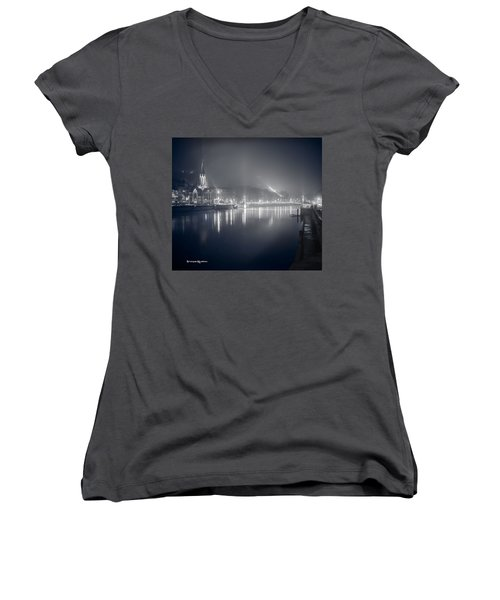 Women's V-Neck featuring the photograph A Cathedral In The Mist II by Stwayne Keubrick