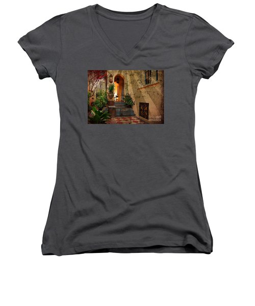 Women's V-Neck T-Shirt (Junior Cut) featuring the photograph A Charleston Garden by Kathy Baccari