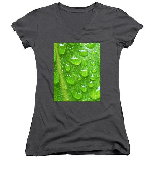 Women's V-Neck T-Shirt (Junior Cut) featuring the photograph A Cleansing Morning Rain by Robert ONeil