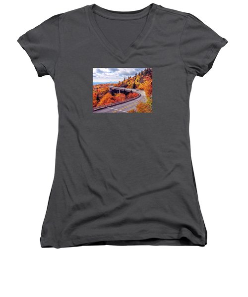 A Colorful Ride Along The Blue Ridge Parkway Women's V-Neck