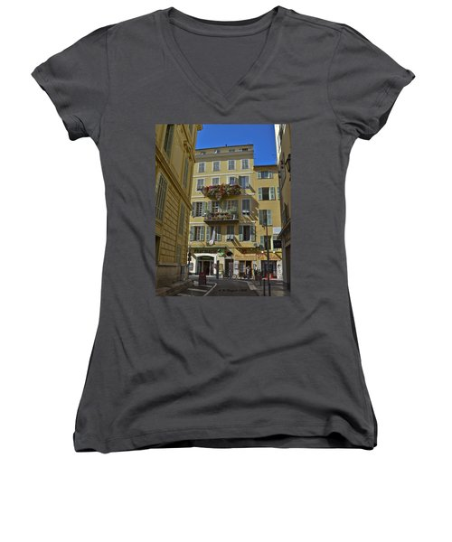 Women's V-Neck T-Shirt (Junior Cut) featuring the photograph A Corner In Nice by Allen Sheffield